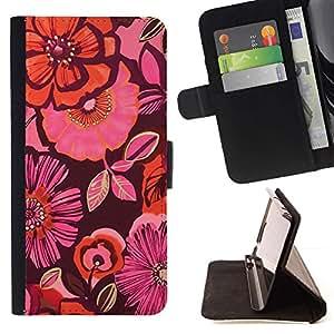 Momo Phone Case / Flip Funda de Cuero Case Cover - Maroon floral rose - HTC One A9