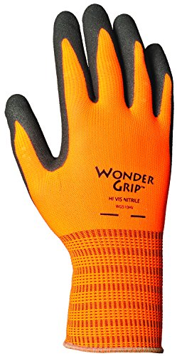 (Wonder Grip WG510HVS High-Visibility Extra Tough Seamless Knit Nitrile Palm Work Gloves, Textured Double-Coated Nitrile Palm, Small, High-Visibility Orange)