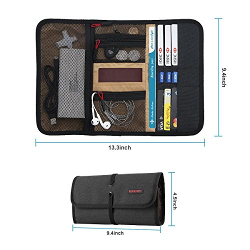 Travel Gear Organizer with Passport Cash Card Slots - Maxjoy Travel Passport Wallet, Roll-up Electronics Accessories Organizer for USB Cables Chargers and Other Electronics Accessories, Black