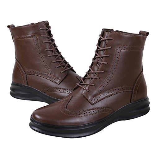 Sol Lorence Mens Vinter Klassiska Brogue Läder Pälsfodrade Boots Snörning Dragkedja Varma Skor Mörk Brown1