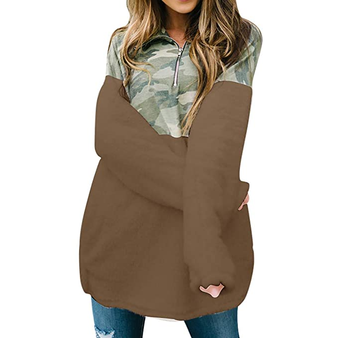 Longra❤ ❤ Sudadera Pullover Tops Blusa, Empalme de la Cremallera Pullover Puente de Piel Falsa Outwear Tops: Amazon.es: Ropa y accesorios