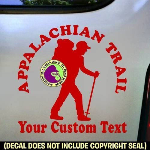 Appalachian Trail Hiker CUSTOM COLOR and WORDS Hiking Vinyl Decal Sticker D