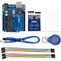 Gowoops RFID Mifare RC522 RF Sensor Module + S50 Blank Inductive IC Card + Key Ring + 20-Pin 15 cm Male to Female Jumper Wires + Uno R3 Board for Arduino