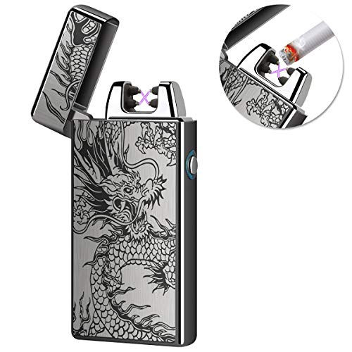 Kivors USB Rechargeable Windproof Flameless Electronic Double Pulse Arc Lighter Belief Chinese Dragon Lighter ()
