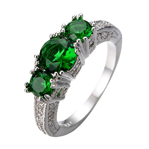 White Without Stones Ring (Junxin Jewelry Three-stone Emerald Ring White Gold Plated Wedding Engagement Size5/6/7/8/9/10/11/12(11))