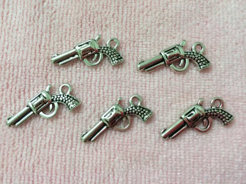 10pc Antiqued Silver Gun Charm & Pendant Tibetan Style Jewelry Findings
