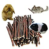 Petawi 120PCS Apple Wood Chew Sticks for Small Rodents Organic Apple Tree Branches Chinchilla Rabbit Guinea Pig Chew Toys and Accessories Pet Supplies Ideal for Small Pets Teeth Cleaning