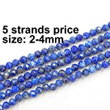 2-4mm Faceted Gemstone Beads for Jewelry Making, Sold per Bag 5 Strands Inside (Lapis Lazuli, 2mm)