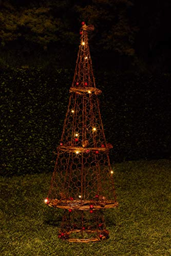 Alpine Corporation CIM200HH Rattan Light-up Christmas Tree Décor, 28 Inch Tall, 28