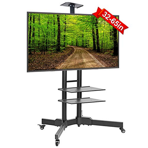 ABCCANOPY TV Cart Rolling Trolley Mount TV Stand w/Wheels and Adjustable Shelf for 32-65 Inch LED LCD OLED Flat Screen, Plasma TVs TV Monitors ()