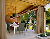 COFTY Outdoor Curtain Panels For Patio| Porch| Gazebo| Pergola | Cabana | dock| beach home - Pinch Pleat- Wheat 120W x 96L Inch (1 Panel)