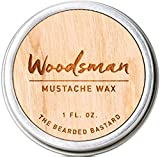 Woodsman Mustache Wax by The Bearded Bastard 1 oz. Tin of Strong Hold Mustache Wax - All Day Hold Mustache Wax with Beeswax & Jojoba Oil - Men's Care Great Smelling Facial Hair Products