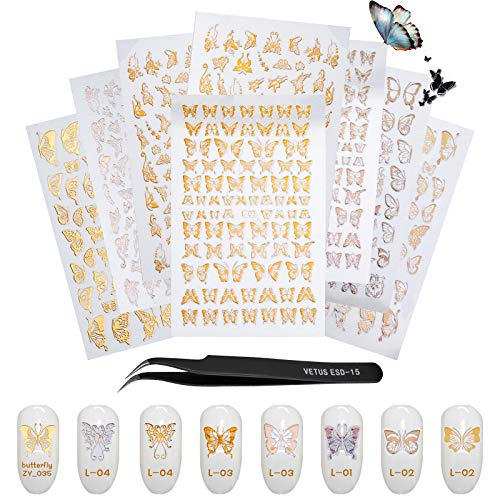 Gezan Butterfly Nail Art Self Adhesive Stickers | Gold and Silver Color three-D Nail Decals Art Design | with added 1 Clipper, Plier | Perfect Manicure Nail foil artwork package set for girls and women (8 Sheets)