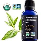 Aetos Organic Tea Tree Oil, USDA Certified Organic Essential Oils, Non GMO, 100%