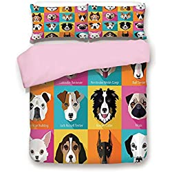 Pink Duvet Cover Set,King Size,Pattern with Dogs Retro Popart Style Bulldog Hound Cartoon Print Art for Dog Lovers,Decorative 3 Piece Bedding Set with 2 Pillow Sham,Best Gift For Girls Women,Pink Blue