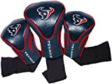 Team Golf NFL Houston Texans Contour Golf Club Headcovers (3 Count), Numbered 1, 3, & X, Fits Oversized Drivers, Utility, Rescue & Fairway Clubs, Velour lined for Extra Club Protection