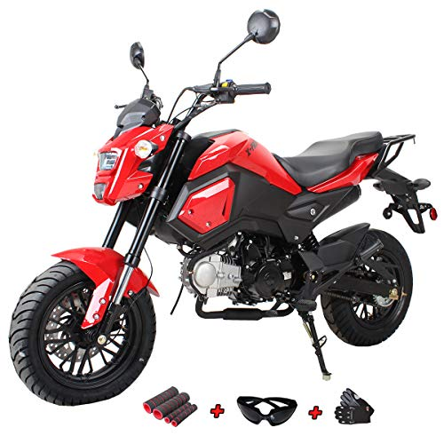 X-Pro 125cc Vader Gas Motorcycle Dirt Bike Street Bike with Gloves, Goggle and Handgrip (Red)