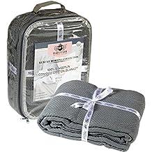 HILLFAIR 100% Ringspun Combed Cotton Blanket- Herringbone Cotton blanket- King Blankets - Cotton Thermal Blankets - Soft Light Weight Cotton Blanket – King Bed Blankets– Grey Cotton Blankets by