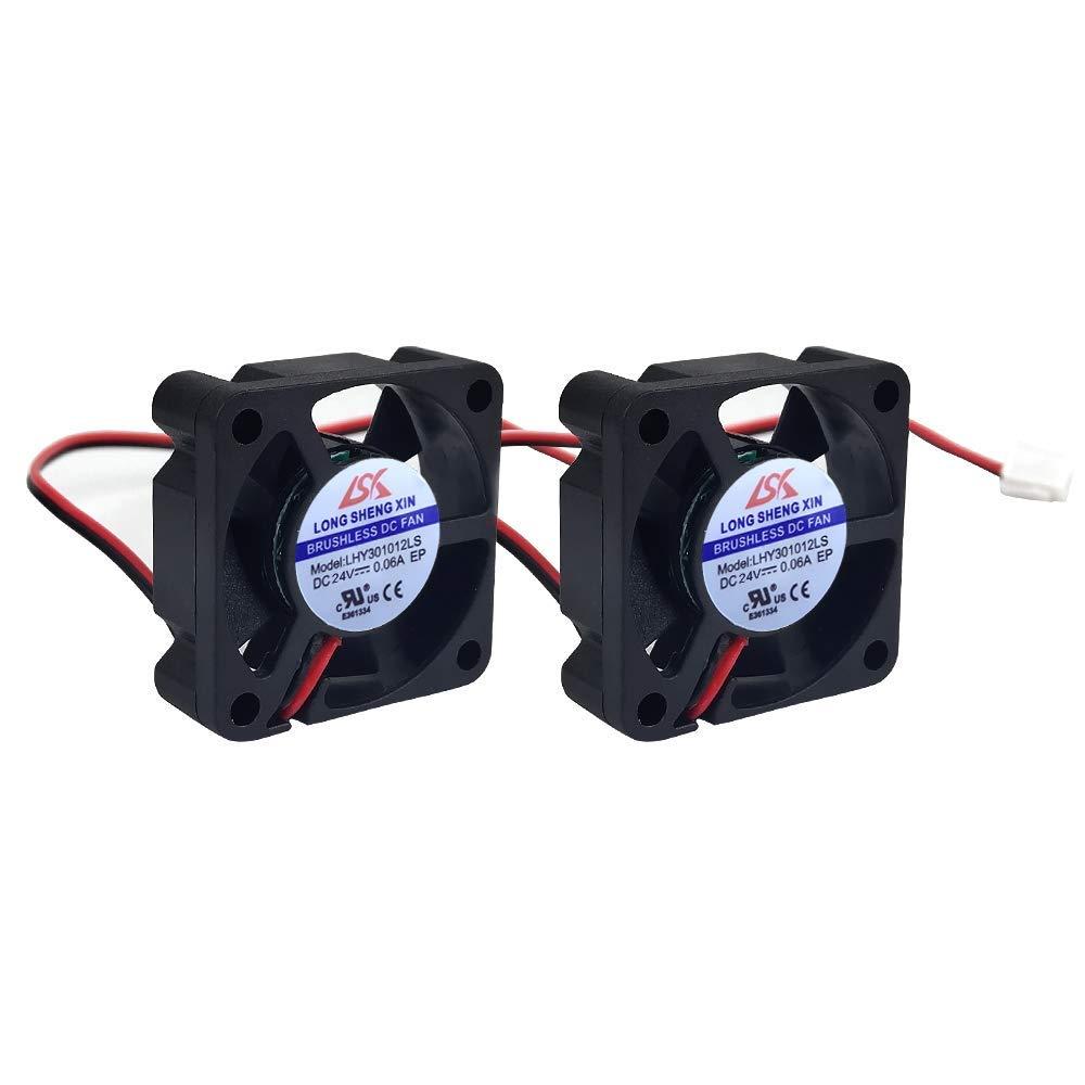 HAWKUNG 2 Pieza Impresora 3D Ventilador de Enfriamiento Extrusora Accesorio 3010 30 x 30 x 10 mm DC 24V 2 Pin Conector Rodamiento Silent Brushless Coolsink Heater Blower para impresora 3D, Negro