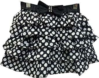 Jojo Black Cotton Layered Skirt For Girls