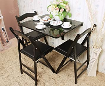 Amazon.com: Haotian Wall Mounted Drop Leaf Table, Folding Dining Table  Desk, Solid Wood Table, 75cm(29.5in)x60cm(23.6in), Color: Black ,  FWT01 SCH: Kitchen ...