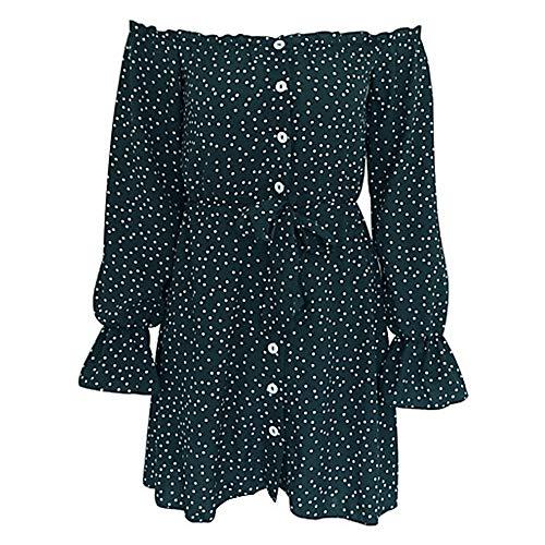 Vaina Vestido A JIZHI Green Mini Lunares L Mujer Z5qwcwR18