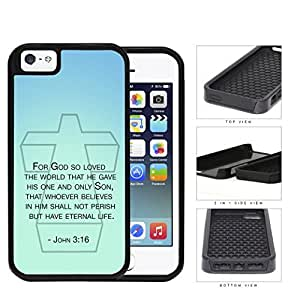 John 3:16 Bible Verse on Mint & Teal Background [iPhone 5 5s] 2-piece Dual Layer High Impact Black Silicone Cover
