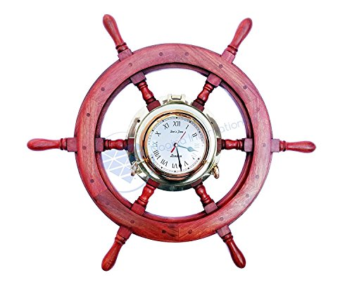 - Nagina International Polystone Polished Nautical Brass Porthole Clock Ship Wheel | Pirate's Ocean Home Decor Gift | London Sea's Time (18 inches)