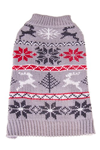 (Cute Christmas Festive Holiday Pet Dog Sweater Costume | Perfect for Many Breeds of Dogs & Cats | Gray with Reindeer and Snowflake Designs | Small | Measurements Body 25cm, Chest 32cm, Collar 24cm)