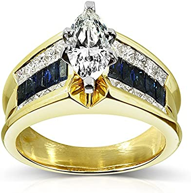 Kobelli Marquise Diamond Blue Sapphire Engagement Ring 2 3 4 Carat Ctw In 18k Yellow Gold Amazon Com
