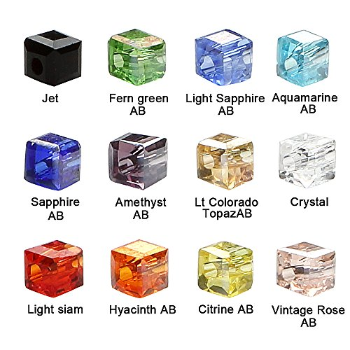 BRCbeads Crystal Glass Beads Finding Spacer Charms 1200pcs Faceted #5601 Cube Shape 2mm Assorted Colors include Plastic Jewelry Container Box Wholesale Mix Lot for jewelery making ()
