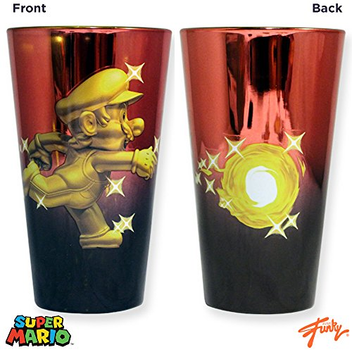 20oz Nintendo OFFICIAL Super Mario Bros. Metallic Red and Gold Metal Mario PREMIUM Pint Glass GIFT