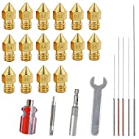 16 PCS 3D Printer MK8 Brass Extruder Nozzle Print Head with 4 DIY Nozzle Tools,DuKuan 7 Different SizesMK8 Nozzles & Screw Driver, Spanner, Wrench Sleeve and Cleaning Needles from DaKuan
