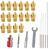 16 PCS 3D Printer MK8 Brass Extruder Nozzle Print Head with 4 DIY Nozzle Tools,DuKuan 7 Different SizesMK8 Nozzles & Screw Driver, Spanner, Wrench Sleeve and Cleaning Needles