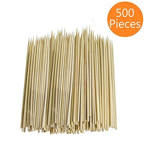 Cocrao 8'' Bamboo Sticks Skewers 500 PC/Bag Kabob Skewers, BBQ Skewers for Outdoor Barbecue, Fondue, Cooking, Grilling & Kabob
