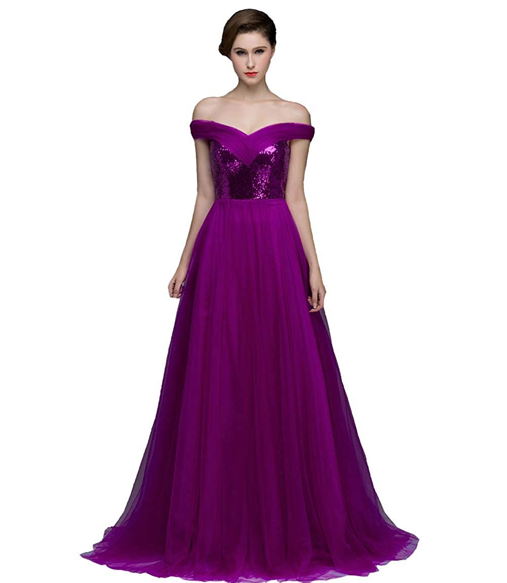 A Purple Lemai Sequins and Tulle Off The Shoulder Corset Prom Homecoming Evening Dresses