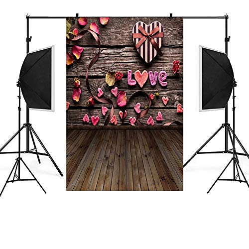 MSOO Valentine's Day Love Heart Photography Backdrop Vinyl P