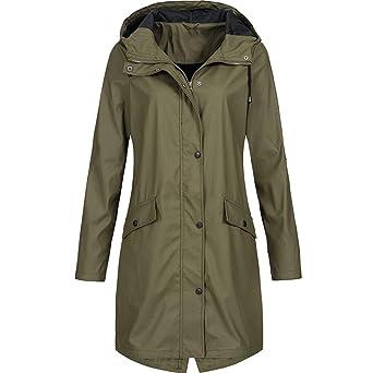 iHENGH Damen Frühling Herbst Mantel bequem Solide Regenjacke Outdoor Jacken Wasserdicht mit Kapuze Regenmantel Winddicht Park