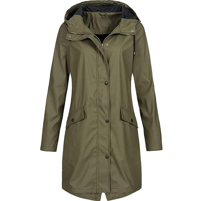 7677982efec Nadition Women s Windbreaker 🌲 Fashion Solid Rain Jacket Outdoor Hoodie  Waterproof Long Coat Windproof Overcoat Army