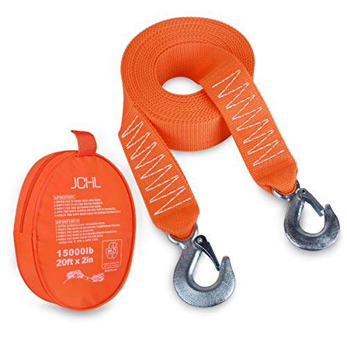For Sale! JCHL Tow Strap Heavy Duty with Hooks 2x20' 15,000LB Recovery Strap 6,8 Tons Towing Strap ...