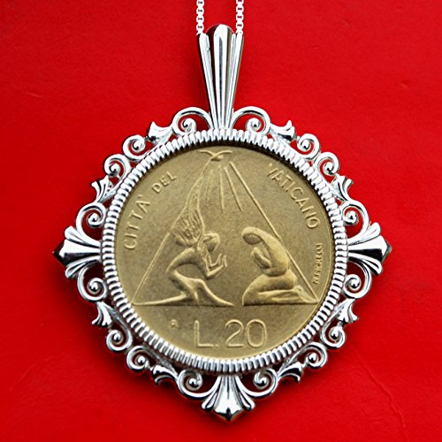 (1983 Vatican John Paul II 20 Lire BU Unc Coin Solid 925 Sterling Silver Necklace NEW - Radiant Dove above Stylized Kneeling Figures)