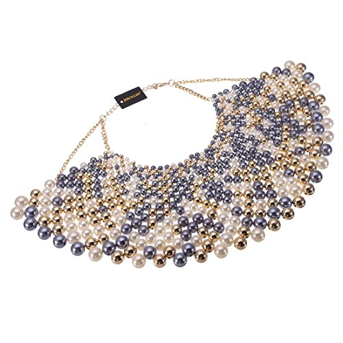 Bib Collar Necklace Chunky CCB Resin Beads Chain Choker Statement Necklace Womens Fashion Jewelry Necklace (Multi-Color)