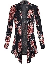 BILY Women's Open Front Drape Hem Lightweight Cardigan Floral Print