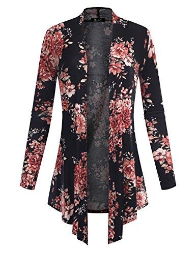 BILY Women's Open Front Drape Hem Lightweight Cardigan Floral Print 160219 Black X-Large Cashmere Summer Cardigan