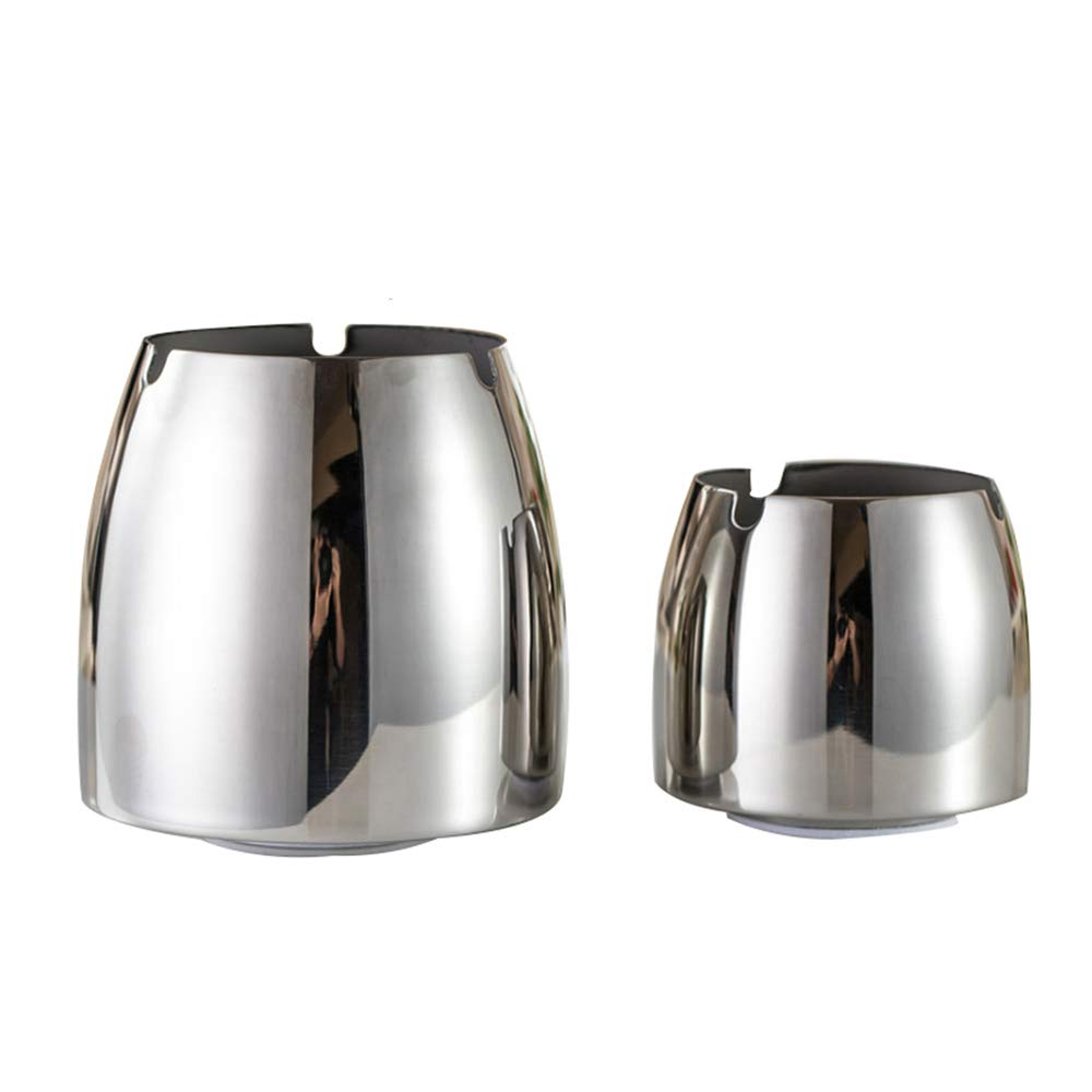 YUFF Ashtray(Large And Small), Stainless Steel Unbreakable Modern Ashtray,Cigarette Ashtray for Indoor or Outdoor Use(2pack)