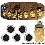 Solar powered Mason Jars Lights,Solar Fairy Lights Lids Fit for Regular Mouth Hanging Mason Jars Decor 5-Pack 20 Bulbs Warm White