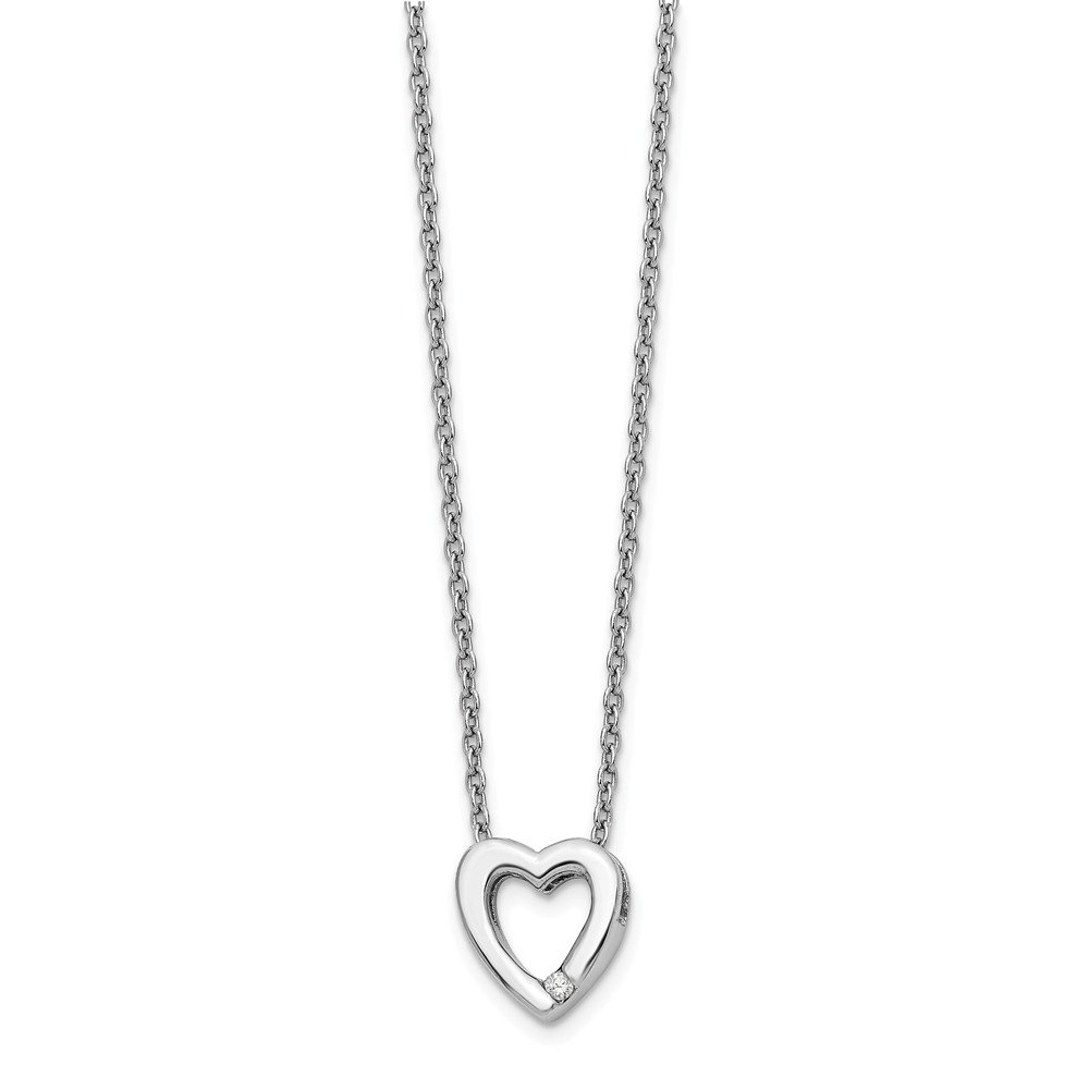 Jewelry Pilot Sterling Silver Heart Pendant 18 Cable Chain Lobster Claw Closure