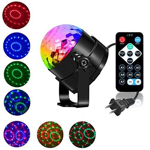 Disco Ball DJ Light Party LED Lights, Sound Activated Stage Rotating Magic Strobe Lights with Remote Control Karaoke Night Disco Dj Lights for Birthday Gift Festival Holiday Bar Party Karaoke -