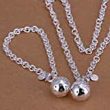 New Women 925 Sterling Silver Plated Bead Pendant Bracelet Necklace Jewelry Set