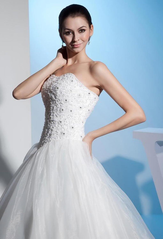 GEORGE BRIDE Ball Gown Strapless Beaded Bodice Satin Wedding Dress ...